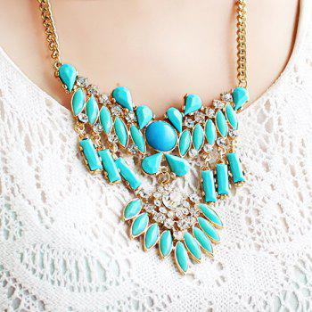 Ethnic Style Colorful Gemstone Embellished Pendant Women's Necklace