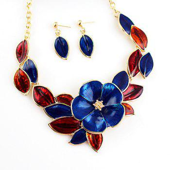 Noble Women's Flower Pendant Necklace and A Pair of Earrings