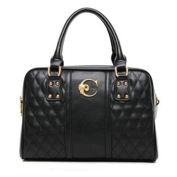 Fashion Checked and Metallic Design Shoulder Bag For Women
