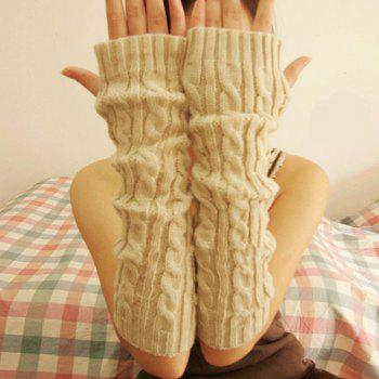 Pair of Chic Hemp Flower Decorated Fingerless Gloves For Women