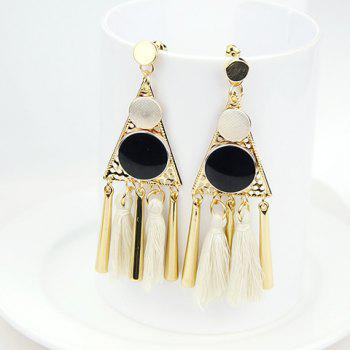 Pair of Ethnic Style Tassel Triangle Drop Earrings