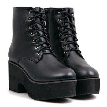 Laconic Black and Lace-Up Design Short Boots For Women