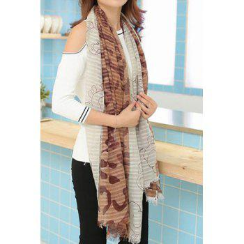 Stylish Printed Color Splicing Voile Scarf For Women - COLOR ASSORTED