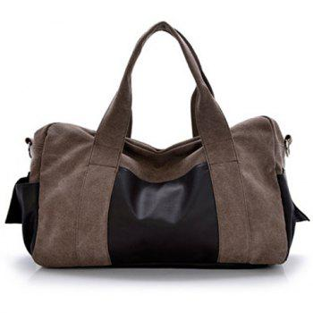 Casual Splicing and Zip Design Messenger Bag For Men - COFFEE COFFEE