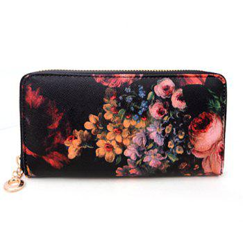 Stylish Floral Print and Zipper Design Clutch Wallet For Women