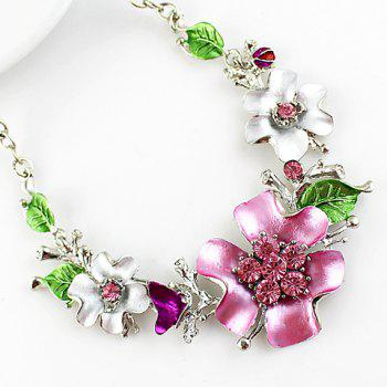 Noble Flower Shape and Leaf Shape Embellished Necklace and A Pair of Earrings For Women - AS THE PICTURE