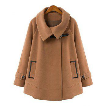 Worsted Turn-Down Collar Long Sleeve Loose-Fitting Trendy Style Women's Cloak Coat