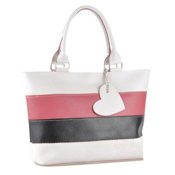 Fashion Color Block Stripe and Pendant Design Shoulder Bag For Women