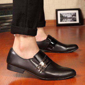 Stylish Pointed Toe and Metallic Design Formal Shoes For Men - BLACK 44