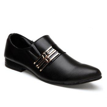 Stylish Pointed Toe and Metallic Design Formal Shoes For Men