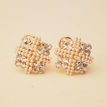 Pair of Graceful Rhinestone Embellished Square Shape Women's Earrings - AS THE PICTURE