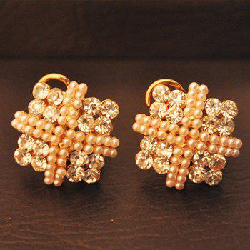 Pair of Graceful Rhinestone Embellished Square Shape Women's Earrings