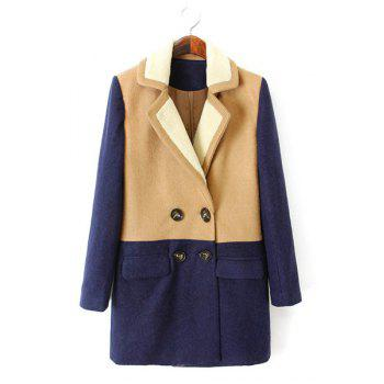 Elegant Color Block Lapel Thicken Double-Breasted Worsted Long Sleeve Coat For Women