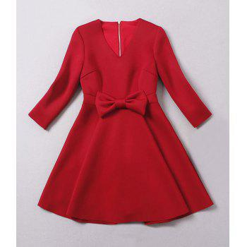 Ladylike Solid Color V-Neck Bow Tie Embellished Long Sleeve Dress For Women