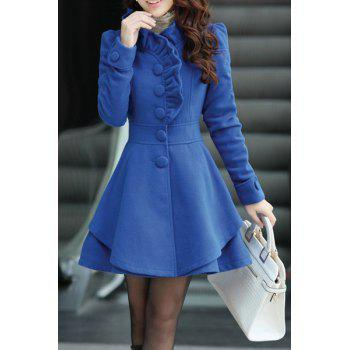 Stylish Stand-Up Collar Long Sleeve Flounced Solid Color Women's Coat