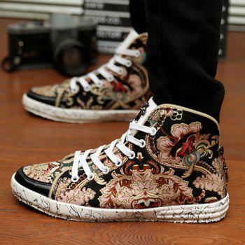 Fashionable Round Toe and Floral Print Design Canvas Shoes For Men - BLACK 42