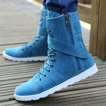 Street Style Lace-Up and Suede Design Men's Boots - DEEP BLUE 40