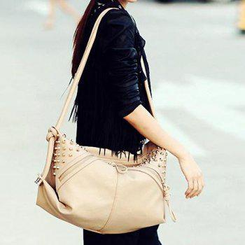 Trendy Rivets and Zip Design Shoulder Bag For Women