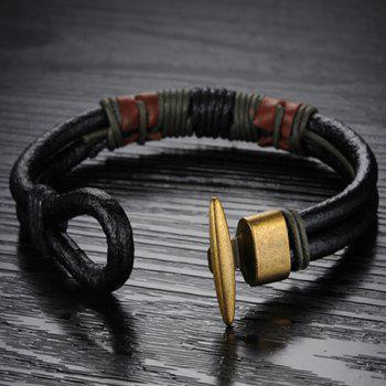 Fashion Retro Rope Leather Chain Bracelet For Men -  COLORMIX