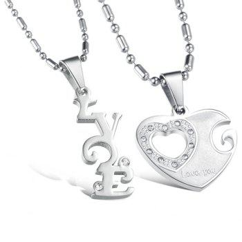 Pair of Rhinestone Inlaid Heart Irregular Necklaces For Lovers