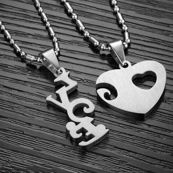 Pair of Rhinestone Inlaid Heart Irregular Necklaces For Lovers - SILVER