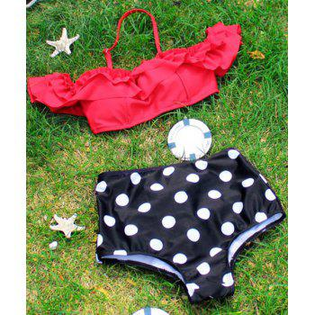 Sweet Polka Dot Ruffled Two-Piece Swimsuit For Women - RED XL