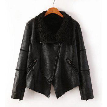 Faux Leather Faux Fur Turn-Down Collar Long Sleeve Trendy Style Women's Jacket