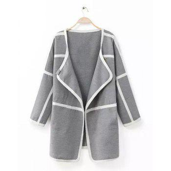 Striped Color Block Turn-Down Collar Long Sleeve Trendy Style Women's Coat