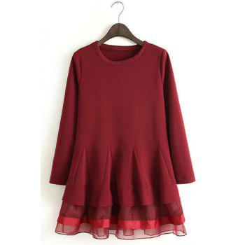Voile Splicing Hem Round Collar Long Sleeve Ladylike Style Women's Dress