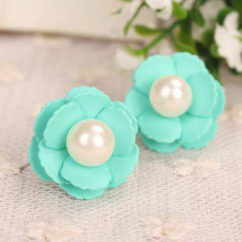 Pair of Fresh Faux Pearl Embellished Flower Shape Women's Earrings