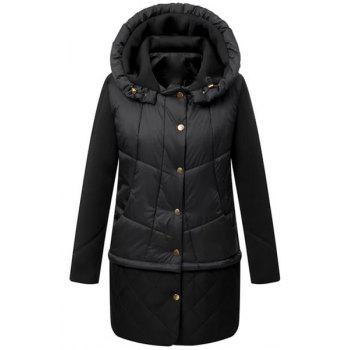 Solid Color Hooded Long Sleeve Single-Breasted Casual Style Women's Down Coat