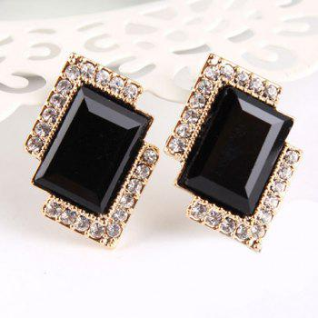 Pair of Rhinestone Faux Crystal Embellished Rectangle Earrings