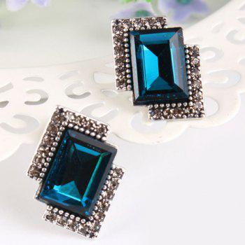 Pair of Rhinestone Faux Crystal Embellished Rectangle Earrings - COLOR ASSORTED