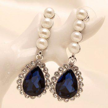 Pair of Delicate Chic Women's Rhinestone Pearl Drip Earrings