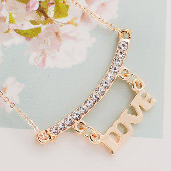 Sweet Cute Women's Rhinestone English Letter Necklace - AS THE PICTURE