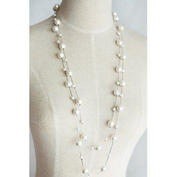 Sweet Cute Women's Pearl Layered Sweater Chain Necklace