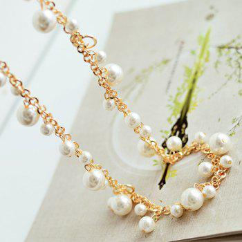 Endearing Faux Pearl Embellished Women's Sweater Chain Necklace