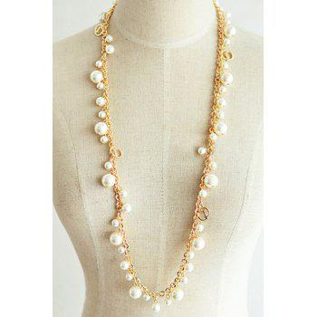 Endearing Faux Pearl Embellished Women's Sweater Chain Necklace - COLORMIX