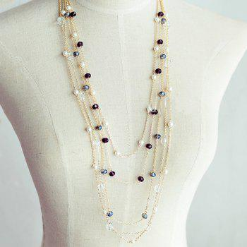 Gorgeous Black Beads Embellished Women's Sweater Chain Necklace