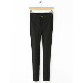 Brief Button Fly Solid Color High-Waisted Stretchy Skinny Pencil Pants For Women