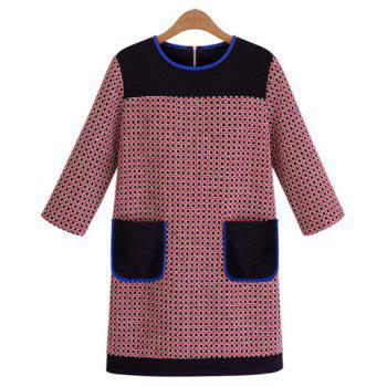 Checked Splicing Color Block Pockets Round Collar 3/4 Sleeve Stylish Women's Dress