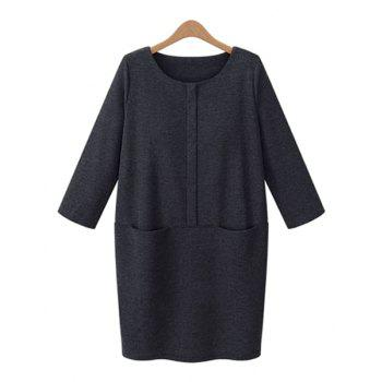 Elegant Solid Color Round Collar Buttons Embellished 3/4 Sleeve Dress For Women - GRAY GRAY