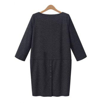 Elegant Solid Color Round Collar Buttons Embellished 3/4 Sleeve Dress For Women - GRAY XL