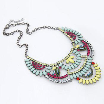 Attractive Gemstone Embellished Special Shape Women's Necklace - LIGHT BLUE