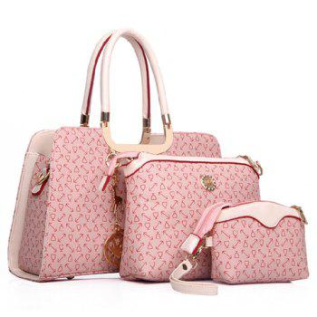 Stylish Pendant and Print Design Tote Bag For Women - PINK PINK