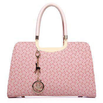 Stylish Pendant and Print Design Tote Bag For Women -  PINK