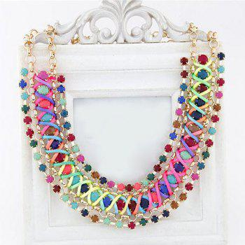 Faux Gemstone Embellished Woven Necklace