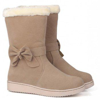 Preppy Solid Color and Bow Design Women's Suede Snow Boots