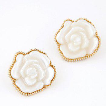 Pair of Glamourous White Rose Shape Women's Earrings