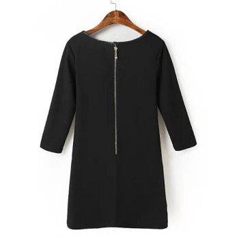 Sexy Floral Print Round Collar PU Leather Splicing 3/4 Sleeve Dress For Women - BLACK M